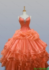 2015 Popular Straps Quinceanera Dresses with Beading and Ruffled Layers