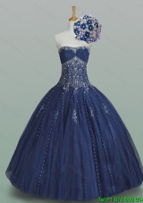 Elegant Ball Gown Strapless Beaded Quinceanera Dresses in Navy Blue