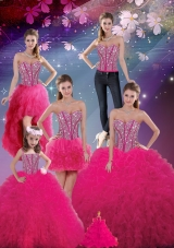 Detachable Sweetheart Beaded and Ruffles Wonderful Quinceanera Skirts  in Hot Pink