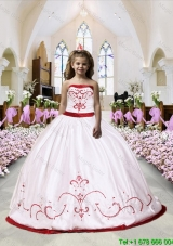 2016 Cheap Embroidery Satin Little Girl Pageant Dress in White