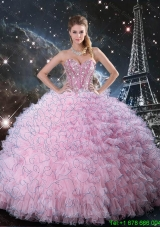 Cheap Pink Sweetheart Sweet 15 Dresses with Beading and Ruffles