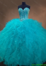In Stock Beaded and Ruffles Quinceanera Gowns in Aqua Blue