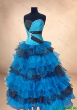 New Arrivals Beaded Multi Color Quinceanera Gowns with Ruffled Layers