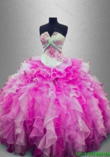 Pretty Strapless Beaded Multi Color Sweet 16 Gowns with Ruffles