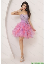 2015 Sweetheart Bowknot and Beaded Short Prom Gowns in Multi Color