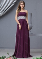 Beautiful Strapless Laced Prom Dresses with Brush Train
