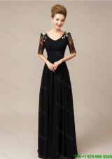 Gorgeous Half Sleeves Laced Black Prom Dresses with V Neck