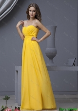 New Style Empire Ruching Yellow Long Prom Dresses