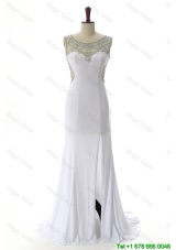 Clearence Empire White Prom Dresses with Beading and High Slit