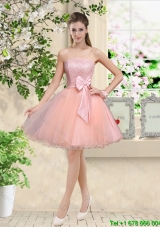 Popular Strapless Mini Length Dama Dresses with Appliques and Bowknot