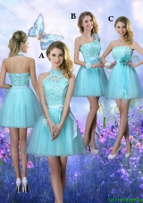 Beautiful A Line Aqua Blue Dama Dresses with Appliques
