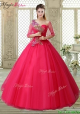 Elegant One Shoulder Beading Quinceanera Gowns with Appliques