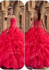 2016 Cheap Beading and Ruffles Quinceanera Dresses in Coral Red