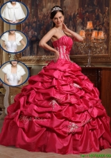 2016 Cheap Coral Red Strapless Quinceanera Gowns with Appliques