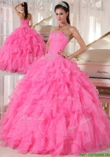 2016 Cheap Hot Pink Ball Gown Strapless Quinceanera Dresses