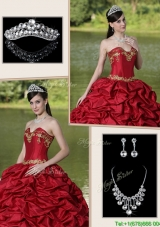 2016 Popular Brush Train Quinceanera Gowns with Appliques and Pick Ups