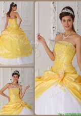 Cheap Appliques Quinceanera Gowns with Hand Made Flower
