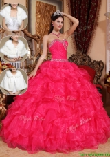 Cheap Beading Sweetheart Quinceanera Dresses in Coral Red
