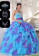 Cheap Multi Color Sweet 16 Gowns with Beading and Appliques
