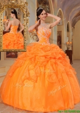 Cheap Orange Red Ball Gown Sweetheart Quinceanera Dresses