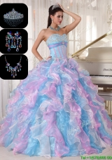 Cheap Ruffles and Appliques Quinceanera Gowns in Multi Color
