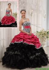 Most Popular Ruffles Sweetheart Quinceanera Gowns in Red and Black