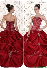 Best Selling Embroidery and Pick Ups Strapless Sweet 15 Dresses