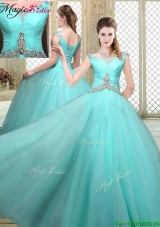 2016 Luxurious Straps Beading Sweet 16 Dresses in Aqua Blue
