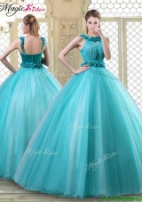 2016 Pretty Bateau Quinceanera Dresses with Ruffles in Teal