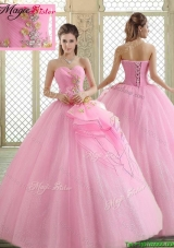 Hot Sale Sweetheart Rose Pink Quinceanera Dresses with Beading
