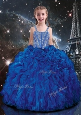 Hot Sale Ball Gown Straps Beading Mini Quinceanera Dresses in Blue