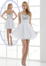 Fashionable Straps Sequins Short Prom Dress for Graduation