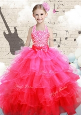 Beautiful Halter Top Hot Pink Mini Quinceanera Dresses with Beading