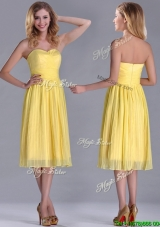 Cheap Pleated Yellow Chiffon Dama Dress in Tea Length