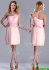 Exquisite One Shoulder Side Zipper Dama Dress in Baby Pink