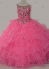 Discount Puffy Skirt Ruffled Layers Little Girl Pageant Dress in Rose Pink