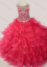 Cute Ball Gown Coral Red Beading and Ruffled Layers Mini Quinceanera Dress with Straps and Off the Shoulder