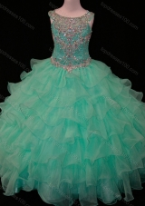 New Arrivals Mint Scoop Mini Quinceanera Dresses with Beading and Ruffled Layers