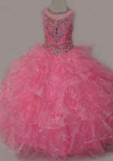 Rose Pink Ball Gown Scoop Beaded Bodice Lace Up Mini Quinceanera Dresses