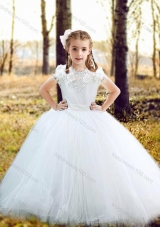New Arrival Fashionable Scoop Really Puffy Flower Girl Dress with Hand Made Flowers and Appliques