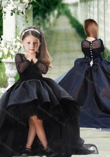 New Arrival See Through Long Sleeves Flower Girl Pageant Dress in Navy Blue