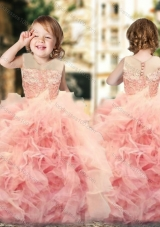 New Arrival Wonderful Ruffled and Laced Flower Girl Pageant Dress with See Through Scoop