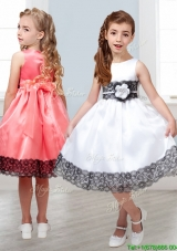 2016 Popular Scoop White Little Girl Pageant Dress with Hand Made Flowers and  Lace