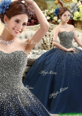 Classical Beaded Bodice Sweet 16 Quinceanera Gowns in Navy Blue