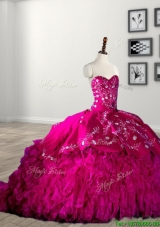 Classical Rhinestoned and Ruffled Fuchsia Quinceanera Dress with Brush Train