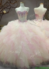 Elegant Beaded and Ruffled Organza Sweet 16 Dress in Rainbow