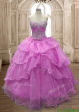 Sweet Beaded and Ruffled Layers Quinceanera Dress in Lilac for Spring
