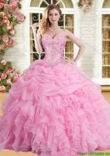 Elegant Rose Pink Sweet 16 Dress with Appliques and Beading