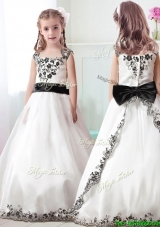 Lovely Straps White Flower Girl Dress with Appliques and Belt
