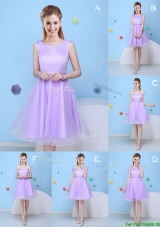 Popular Bowknot Lavender Tulle Short Bridesmaid Dress with Lace Up
